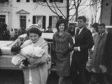 President Elect John F Kennedy and Wife Arriving Home from Hospital with Newborn Son