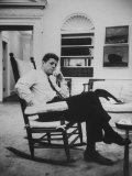 Pres John F Kennedy Sitting in Rocking Chair