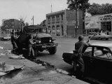 During Race Riots in Detroit  National Guard Patroling Devastated Neighborhood