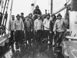 Nova Scotia Fishermen Gathering for a Picture While at Sea Off Grand Banks