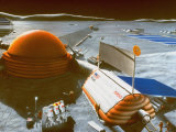 Artist Conception of a Lunar Base Which Would House 12 to 18 Researchers for 6-Months Tours