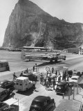 Shot of the Gibraltar's Airfield  with the Rock in the Background