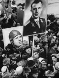 Crowd with Posters of Cosmonaut Yuri Gagarin  First Human to Travel in Space