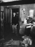 Neighbor of Murderer Ed Gein  Bob Hill  Looking in Horror While Standing in Doorway of Gein's House