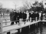 President Richard M Nixon and Wife with En Lai Chou Walking over Bridges in West Hangchou