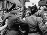 West Berlin Police Holding Back Crowds Who are Coming from East Berlin for Food and Clothing