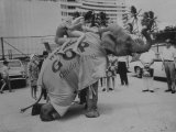 Two Girls on an Elephant at Gop National Convention