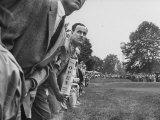 Spectators Watching Ben Hogan  Drive a Ball  at the National Open Golf Tournament