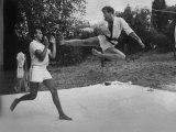 Prince Juan Carlos of Spain Doing Karate Exercises with King Constantine Ii of Greece