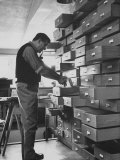 Swedish Peter Weiss in His Office Looking Through Files