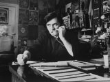 Bill Graham  Owner of Filmores East and West  Talking on Phone as He Works in His Office
