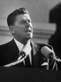 Governor Ronald W Reagan Making Inaugural Speech after Swearing in Ceremony at Capitol