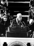 Poet Robert Frost Reading a Poem at the Inauguration Ceremony for President John F Kennedy