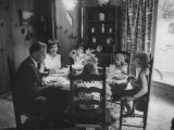 Billy Graham with His Four Children and Wife  Sitting Down for a Family Supper at Home