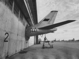 Tail of Soviet Passenger Plane Protruding from Maintenance Hanger