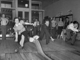 People Bowling at New Duckpin Alleys