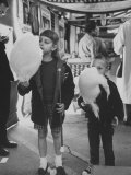 Children Eating Cotton Candy Given by a League of Women Voters