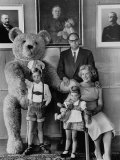 German Toy Maker Otto Steiff Posing with His Family and a Huge Teddy Bear