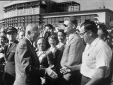 Pres Dwight D Eisenhower Greeting Crowds During Speaking Tour