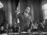 Gangster Mickey Cohen Testifying before Senate Racket Comm