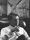 Robert F Kennedy Sitting in Office in Front of Child&#39;s Painting