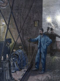 Illustration Depicting Man Operating Early Electric Dynamo Machine