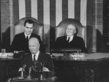 Richard M Nixon  Sam Rayburn and Pres Dwight D Eisenhower During the Opening of Congress