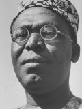 Nigerian Chieftain Obafemi Awolowo Campaigning
