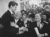 Nikita S Khrushchev and Wife Greeting Pianist Van Cliburn at Soviet Embassy Reception