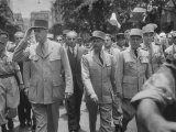 Gen Charles Degaulle Marching Through Algiers with Other Officers