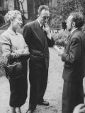 French Author  Albert Camus and His Wife after He Has Won a Nobel Prize for His Writing
