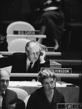 Harold Macmillan Listening to Speech at United Nations 9 1 1960Photographer- Ralph Crane