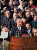 Pres Lyndon Johnson Speaking at His Inauguration