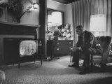 Lyndon B Johnson Watching Television During the Democratic National Convention