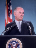 Pres Lyndon B Johnson Holding White House Press Conference