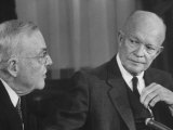 Pres Dwight D Eisenhower and John Foster Dulles Making Speech on Nato Conference