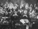 Room Full of Men Smoking During Pipe Smoking Contest
