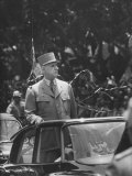 Gen Charles Degaulle Arriving in Algiers Re New Constitution of the French Fifth Republic