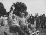 President Dwight D Eisenhower and Louis St Laurent Riding the Golf Cart across the Course