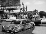 Aftermath of Detroit Race Riots  Gutted Buildings and Burned Cars