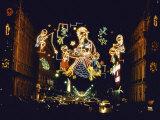 Giant Light Display Depicting Nativity Scene During Christmas Festival