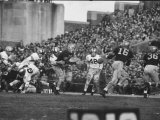 Navy Quaterback  George Welsh  Reaching Out to Complete Pass  During Army-Navy Game
