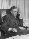 Producer David O Selznick Sitting at His Desk  Talking on the Phone