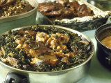 Collard Greens Served with Pigs' Feet and Tails