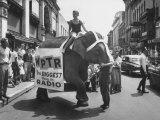 Girl Riding Elephant as a Publicity Stunt for a Radio Station
