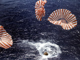 Apollo 15 Splashing Down in Pacific Ocean W Parachutes Trailing Behind