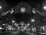 Christmas Decorations Hung across Regent Street in London