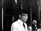 Indonesia's Pres Sukarno Addressing the Bandung Conference