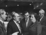 Mrs Golda Meir with Ishar Harari and Gideon Rafael of the Israeli Delegation at the Un