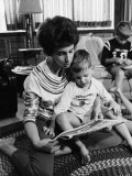 Valerie Anders  Wife of Apollo 8 Astronaut  Reading Newspaper Comics with Son at Home